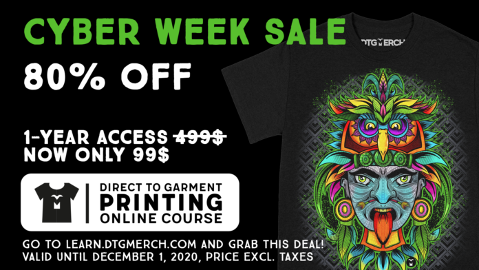 DTG Printing Online Course - Cyber Week Sale (Save 80%)