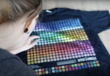 Checking colour patches on a black t-shirt